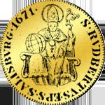 Salzburger Dukat in Gold aus dem Jahre 1671