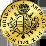 Goldmünze Souveraindor Brab. 1752