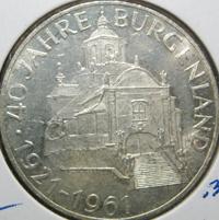 25 Schilling Silbermünze 40 Jahre Burgenland