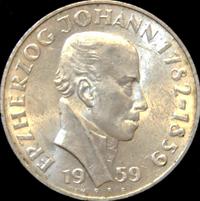 25 Schilling Silbermünze Erzherzog Johann
