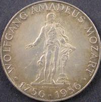 25 Schilling Silbermünze Wolfgang Amadeus Mozart