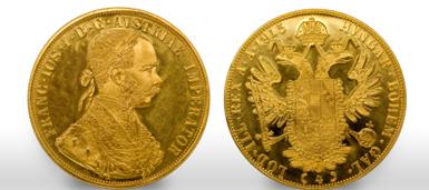 vier Dukaten Münzen aus Österreich