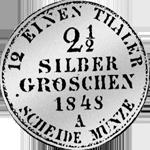 Silber Münze Rückseite 1/12 Reichs Kurant Taler 1848