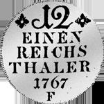 Rückseite 1/12 Kurant oder Reichs Taler 1767 Silber Münze