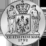 Rückseite Silber Münze 2/3 Reichs oder Kurant Taler 1792
