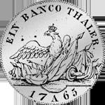 Rückseite Banco Taler Silber Münze 1765