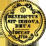 1719 Dukaten Gold Münze Halber Rückseite