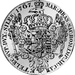 Rückseite Silber Münze Konventions Spezies Taler 1767