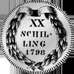 Schilling 20 1/2 Gulden Münze Zürich Silber 1798