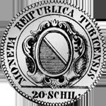 1776 Silber Münze 1/2 Gulden 20 Schilling Zürich