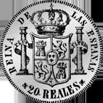 1851 20 Reales Piaster Peso Silber Münze Spanien