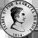 1834 Silber Münze 20 Reales Piaster Peso Spanien