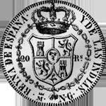 Spanien Silber Münze Peso Piaster 20 Reales 1834