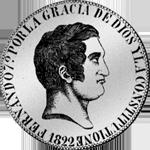 Spanien Silber Münze 1822 Peso Piaster 20 Reales de Vellon