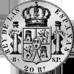 de Vellon 20 Reales Piaster Peso 1822 Silber Münze Spanien