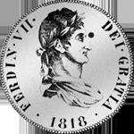 Säulentaler Silber Münze Spanien Peso Piaster 1818