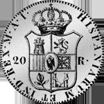 Silber Münze Peso duro Piaster 20 Reales de Vellon 1811
