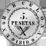 1810 Silber Münze Pesetas provinciales Piaster Peso Spanien