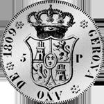 1809 Silber Münze Spanien Peso Piaster 5 Pesetas provinciales