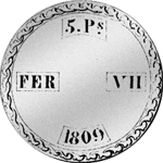 Peso Piaster 5 Pesetas provinciales Silber Münze Spanien 1809