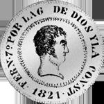 1821 1/2 Peso Silber Münze Piaster 10 Reales de Vellon Spanien