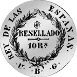10 Reales de Vellon Silber 1/2 Peso Piaster Münze 1821 Spanien