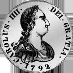1792 Silber Münze 1/2 Piaster Escudo de Vellon 4 Reales Mexico 10 de Vellon Spanien