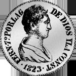 1823 Silber Münze Pesetas Piaster 5 Reales de Vellon Spanien