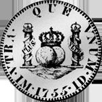 1755 Silber Münze Pesetas 1/4 Piaster Spanien 5 Reales de Vellon Mexicana