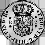 Mexicana 1755 Silber Münze Pesetas 1/4 Piaster Spanien 5 Reales de Vellon