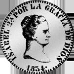1834 Pesetas 1/5 Piaster 4 Reales de Vellon Silber Münze Spanien