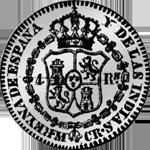 1834 Silber Münze Spanien Pesetas 1/5 Piaster 4 Reales de Vellon