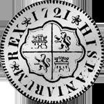 1721 Silber Münze 4 Reales de Vellon Pesetas 1/4 Piaster