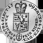 Silber Münze Rückseite Reichs Taler 1799