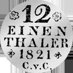 1/12 Reichs Taler Silber Münze 1821