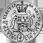 Rückseite Reichs Taler Silber Münze 2/3 1789