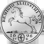 Münze Silber Reichs Taler 2/3 1696