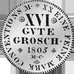 1/2 Konventions Spezies Taler Silber Münze 1805