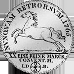 Silber Münze 2/3 Reichsmünze Rückseite 1765