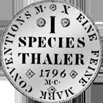 Münze Silber Reichs Taler 1796 2/3