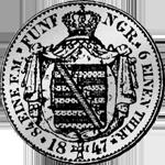 1847 Silber Münze Reichs Kurant Taler 1/6