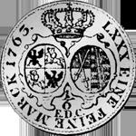 Münze Silber 1763 Reichs Taler Kurant 1/6 Rückseite