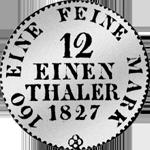 1/12 Reichs oder Kurant Taler 1827 Münze Silber