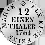 Münze Silber 1/12 Kurant Taler Reichs 1764