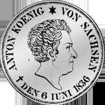 Silber Taler Sterbe Münze Anton Juni 1836