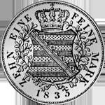 Taler Silber Konventions Spezies Münze 1835 Rückseite