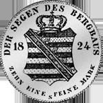 Taler Silber Spezies Konventions Münze 1824 Rückseite
