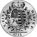 Rückseite Silber Münze Konventions Taler Spezies 1773