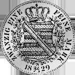 Rückseite Stück Gulden Münze Silber Spezies Taler 1/2 1829