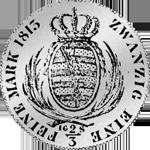 Rückseite 1/2 Spezies Taler Gulden Stück Silber Münze 1813